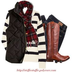 am loving the tartan plaid with striped sweaters