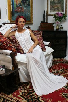 Long Silk Knit Grecian Tunic Nightgown Lounger with Pockets Cruisewear Honeymoon Bridal Lingerie Sleepwear