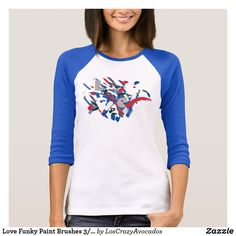 Love Funky Paint Brushes 3/4 Sleeve Top