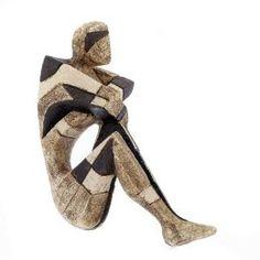 "Decorative Table Art Decor, Handmade Ceramic Male Figure Sculpture Ornament 35cm (13.8"")"