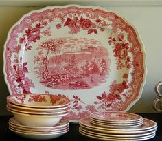 red transferware ----- Transferware is so neat, especially when the different pieces have different pictures.