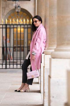 Stella Asteria wearing pink Chanel bag, pink Mango coat & Chanel slingbacks