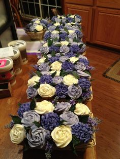 Bridal shower bouquets, instead of using the typical table centerpieces that you find at a bridal shower, this creative bride chose edible flower bouquets!
