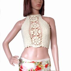 Cream crop top Crochet tank top  Lace top Sexy by KnittedSmiles