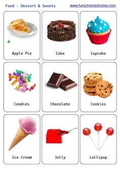 Printable desserts and sweets flashcards.