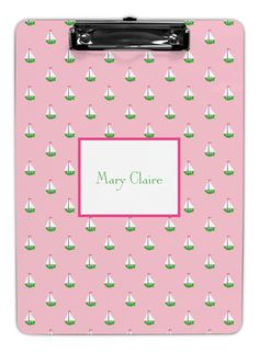 Pink Little Sailboat Clipboards