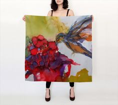 Fashion Accessory, Hummingbird painting printed on silk scarf,  shawl, Wrap, Silk Scarves, Womens Fashion Accessories, Boho Scarves