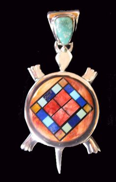 Calvin Begay Native American Indian jewelry turtle pendant checkerboard inlay -MY35 What a lot of fun!