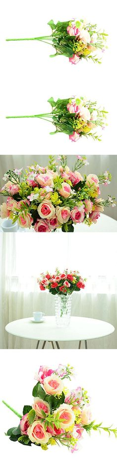Ecosin®Artificial Silk Peony Flowers Home Garden Wedding Party Bridal Bouquet Decor The flower bunches' quantities displayed in the flower vase are 3 bunches