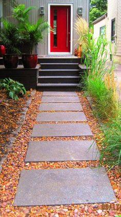 dalles gravier pour une jolie entre walkway ideaslandscaping
