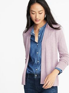 Old Navy Short Open-Front Sweater for Women Vest Outfits For Women, Clothes For Women, Cardigan Sweaters For Women, Cardigans For Women, Navy Cardigan Outfit, Night Outfits, Fall Outfits, Leotard Fashion, Autumn Fashion 2018