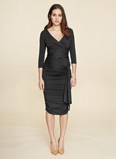 9d3e52e9e7bb4 Isabella Oliver Ruched Wrap Maternity Dress -Black | Maternity Dresses  Maternity Clothes Uk, Maternity