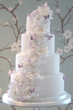 Wedding Cake Ideas Start your own Wedding Cake Business! White roses and lilac butterflies WeddingCakeSource From White roses and lilac butterflies WeddingCake. Elegant Wedding Cakes, Beautiful Wedding Cakes, Gorgeous Cakes, Wedding Cake Designs, Pretty Cakes, Perfect Wedding, Cake Wedding, Lilac Wedding Cakes, Trendy Wedding