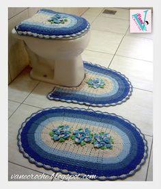 Vanecroche e patch: Jogo de Banheiro croche Flor Estrela degradê azul