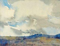 Blamire Young (1862 — 1935, Australia ) Blue Hills. 1900-s watercolour. 14.5 x 49 cm.