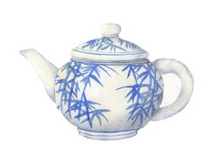 Watercolor Print Large Full Page Bamboo Blue and White Japanese Asian Teapot 11 x 8.5