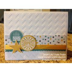 Gender Neutral Birthday Card with Stampin' Up! Amazing Birthday and Perfect Pennants Sets/ Moonlight DSP Stack/ Chevron Embossing Folder/ www.stampinwithlinda.com