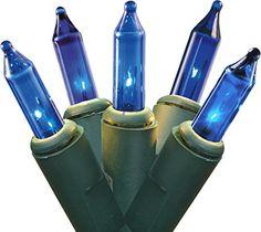 "Set of 100 Blue Mini Christmas Lights 2.5"" Spacing - Green Wire >>> More info @ http://www.amazon.com/gp/product/B00OEBC25M/?tag=christmas3638-20&pza=250916232341"