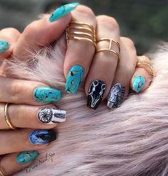 Day turquoise nail art tribal nail art turquoise nail a Rodeo Nails, Cowboy Nails, Horse Nails, Cute Acrylic Nails, Acrylic Nail Designs, Cute Nails, Nail Art Designs, Western Nail Art, Country Girl Nails