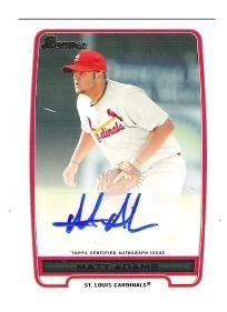 Matt Adams 2012 Bowman Autograph card  -  St Louis Cardinals  -  Free Shipping