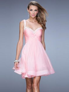 A-Line/Princess Straps Sleeveless Beading Short/Mini Chiffon Dresses 2015