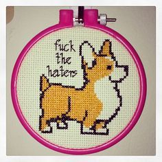 Finished Corgi Cross-Stitch. #corgi #craft #crossstitch