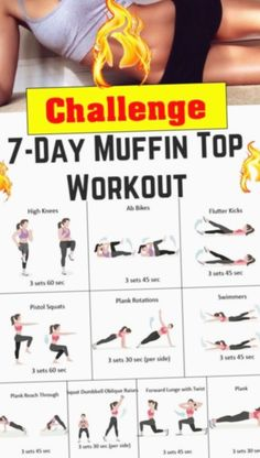 7 Day Challenge muffin top melter workout - Real Time - Diet, Exercise, Fitness, Finance You for Healthy articles ideas Fitness Workouts, Yoga Fitness, Fitness Workout For Women, Easy Workouts, Physical Fitness, Health Fitness, Core Workouts, Woman Workout, Back Workout Women
