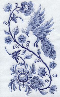 Delft Designs | This magnificent panel design features a bird with glorious plumage ...