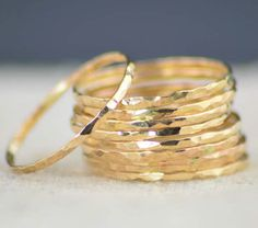 gold hammered stacking rings