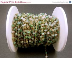 Chrysoprase Wire Wrapped Beaded Chain Gold by jewelersparadise