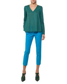 Frankie+Stretch-Cotton+Pants,+Turquoise+and+Matching+Items+by+Akris+punto+at+Neiman+Marcus.