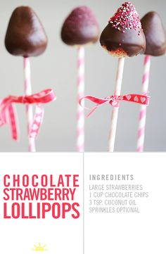 Perfect for Valentine's Day! Chocolate Covered Strawberry Lollipops.