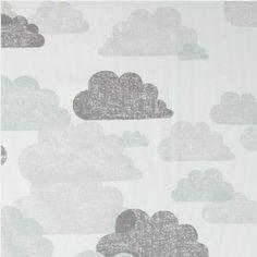 Vevet offwhite m grå/mint skyer