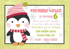 Penguin Birthday Party Invitation  Winter by PhotoGreetings
