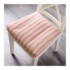 ULLAMAJ Stuhlkissen, weiß, rot - 35/43x37x7 cm - IKEA