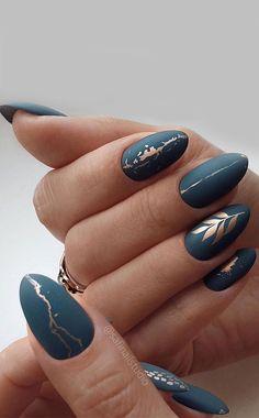 Chic Nails, Stylish Nails, Trendy Nails, Gold Nails, Matte Nails, Copper Nails, Nail Art Designs, Nails Design, Blue Nails With Design