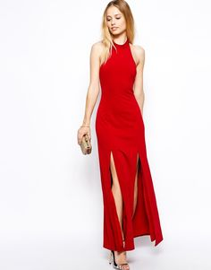 Jarlo Orla Maxi Dress With High Neck And Thigh Splits Red