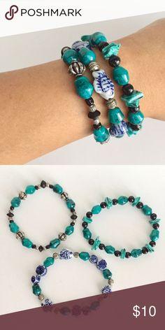 🔹Bracelets🔹 set of 3 Handmade stretch bracelets. Glass, ceramic, metal, plastic beads. New, never worn. Blue, teal, silver, black. Jewelry Bracelets