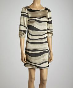 Take a look at this Gold Dune Zigzag Scoop Neck Dress by Clothing Showroom on #zulily today!