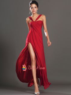 Long Red Elegant Winter Formal Prom Dress With Slits On The Side | Next Prom Dresses