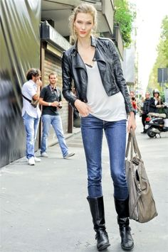 denim, tee, leather riding boots