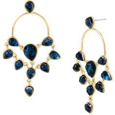 Diane von Furstenberg Women's Aquarius Stone Chandelier Earrings -... (945 DKK) ❤ liked on Polyvore featuring jewelry, earrings, no color, stone earrings, post back earrings, golden earring, gold tone chandelier earrings and gold tone earrings