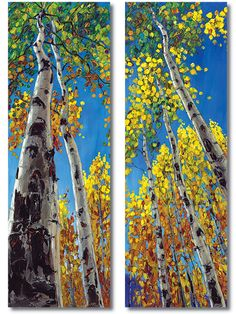 Skyward - Diptych, Aspen Paintings Birch Trees Art by Jennifer Vranes JensArt