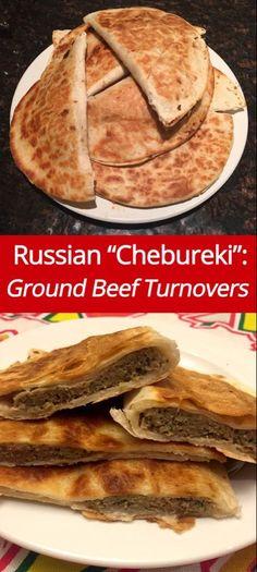 (from )Russian Chebureki Recipe - Ground Beef Turnovers! Ukrainian Recipes, Russian Recipes, Croatian Recipes, Hungarian Recipes, Ukrainian Food, Tostadas, Tacos, Russian Dishes, Russian Foods