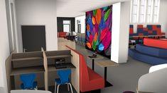 Inrichtingsconcept voor het voortgezet onderwijs. Vooraan staan concentratiewerkplekken gecombineerd met de blauwe Match stoel. Hier aan gekoppeld zit de treinbank samen met de kolomvoet tafel. Afbeeldingen of foto's zijn een mooie toevoeging aan uw ruimte!