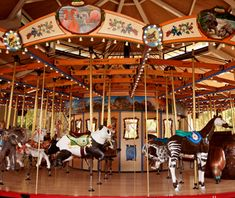 Tom Mankiewicz Conservation Carousel, Los Angeles    Many of the 66 hand-carved figurines at the Los Angeles Zoo's $2.5 million carousel—an Asian elephant; a mountain tapir; a lowland gorilla—were inspired by the zoo's own endangered animals.