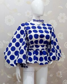 African Wear Dresses, Latest African Fashion Dresses, African Print Fashion, African Attire, Kitenge, African Tops, Blouses For Women, Ankara Tops, Puff Sleeves