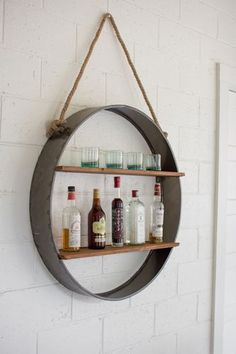 Circle Iron U0026 Wood Hanging Shelf