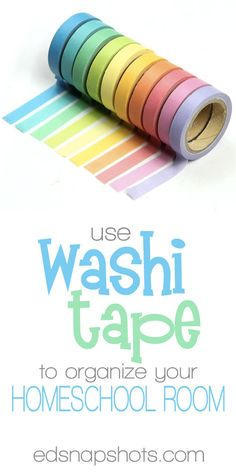 Homeschool organization! Organize your homeschool room with washi tape. Our fun video shows you how to (and NOT to) use washi tape.