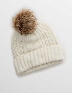 233224ab61c617 Aerie Cable Pom Beanie, Heather Fawn | Aerie for American Eagle Girls Bags,  Mens